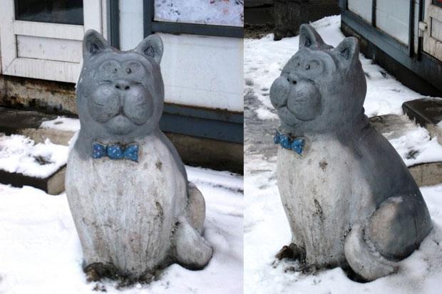 Памятник бездомному коту в Петербурге