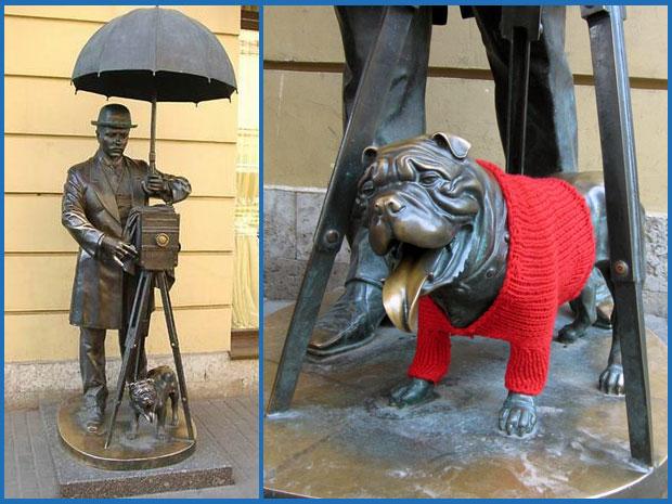 Памятник фотографу и бульдогу на Малой Садовой улице Петербурга