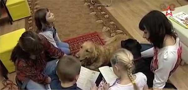 Собака учит детей читать