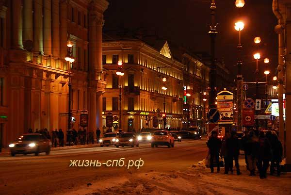 Ночной Невский проспект Петербурга