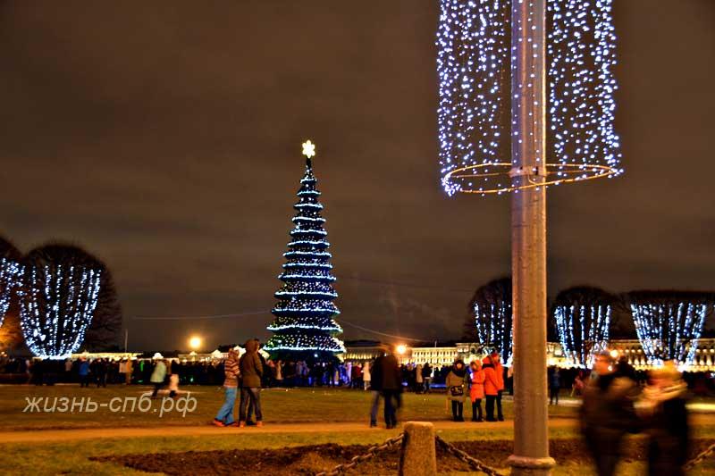 Стрелка Василевского острова в Новогоднюю ночь