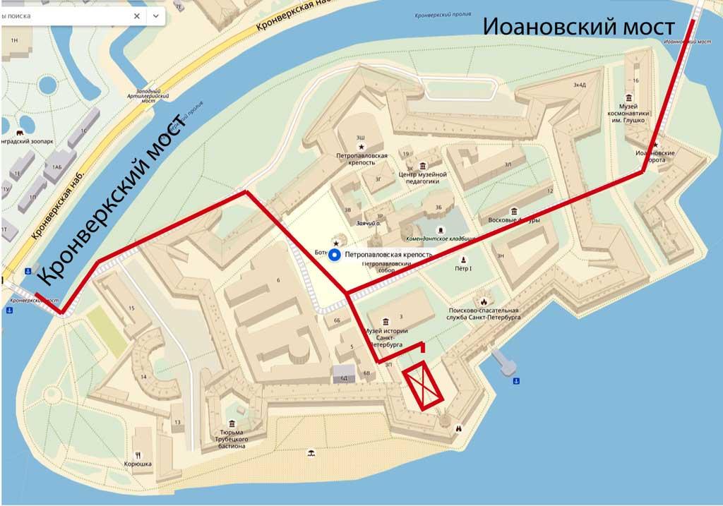 Карта Петропавловской крепости