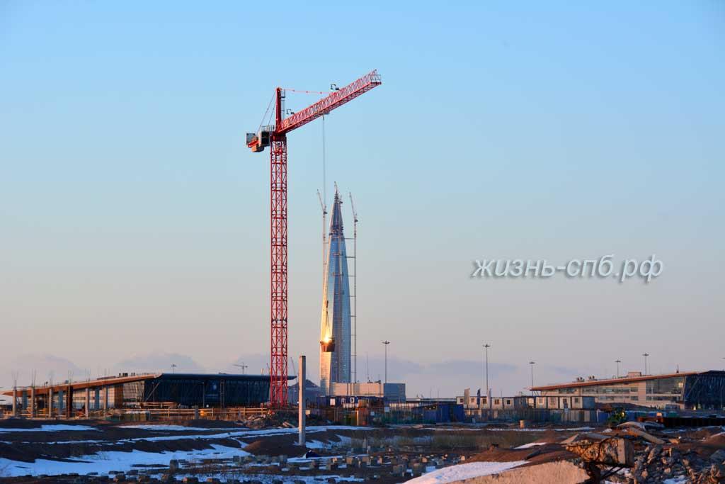 Вид на стройку Лахта центра