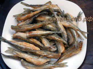 Жареная вкусная рыбка корюшка