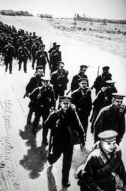 Бойцы морской пехоты. Военный Ленинград