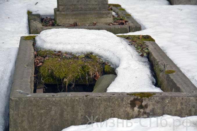 Разрушенные стены склепа на Лютеранском кладбище Питера