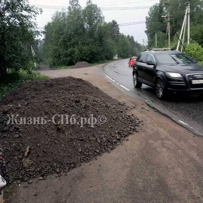 Дорожные работы в Токсово: как пешеходу остаться в живых?