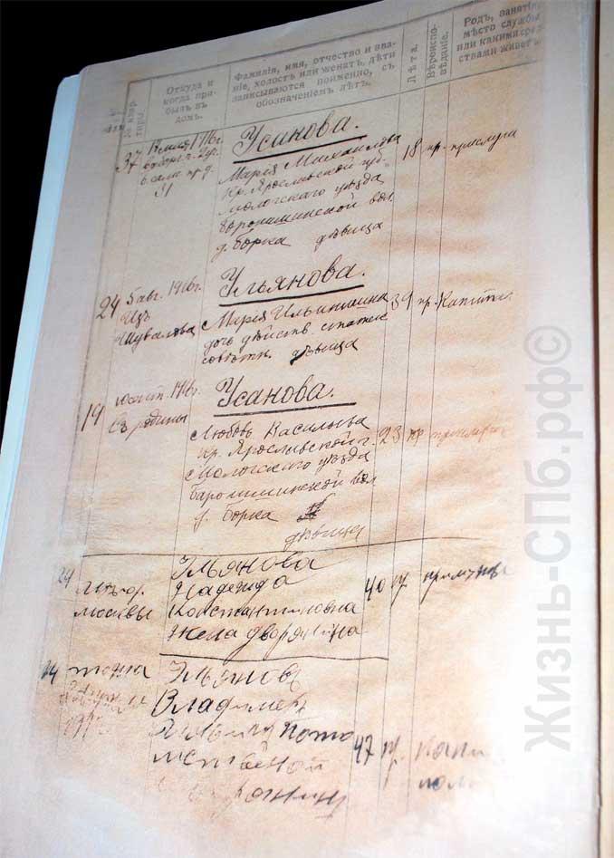 Домочадцы, записанные в домовой книге