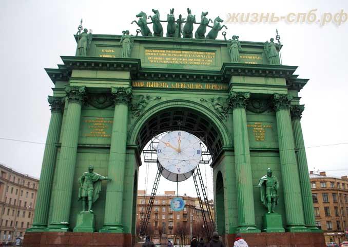 Вид на Нарвские триумфальные ворота спереди (с площади Стачек)
