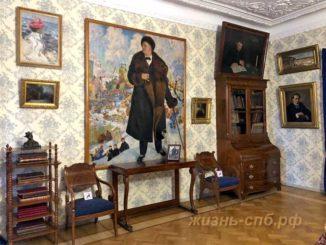 Портрет Ф. И. Шаляпина (Борис Кустодиев) в малой гостиной Мемориального музея